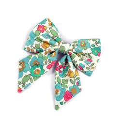Barrette gros noeud Liberty Betsy turquoise