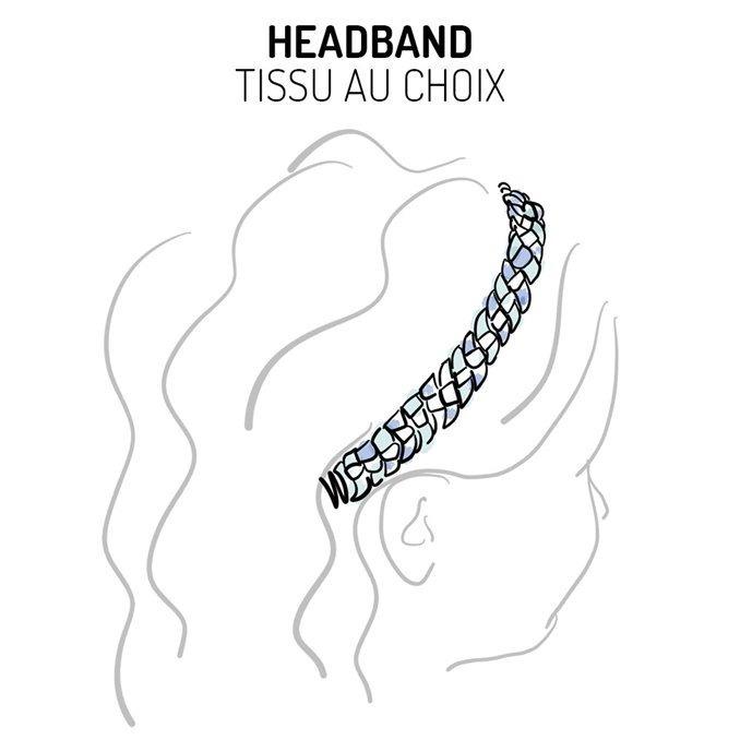 Headband tressé Liberty ou autre tissu au choix