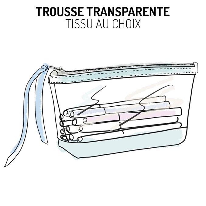 Trousse transparente Liberty ou autre tissu au choix