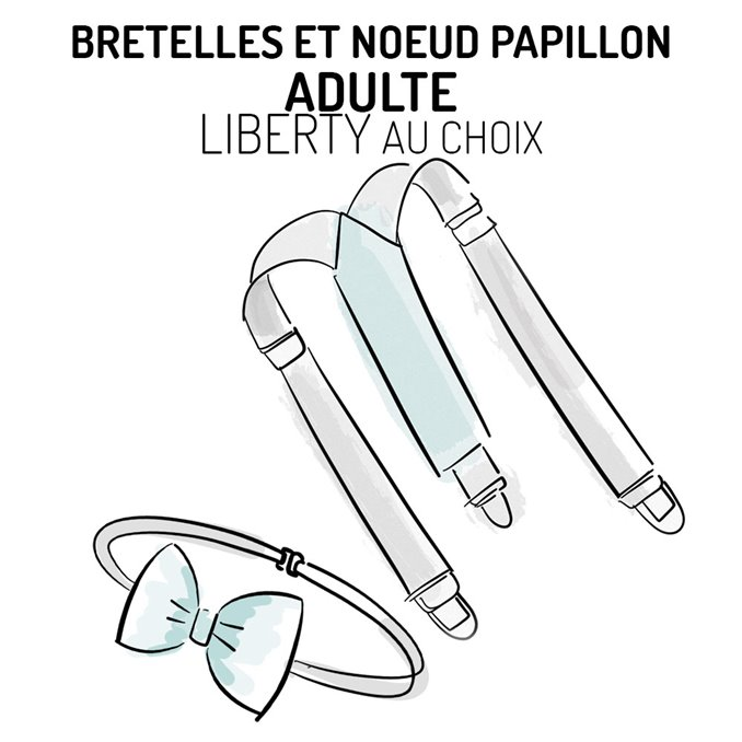 Bretelles et nœud papillon adulte Liberty personnalisable