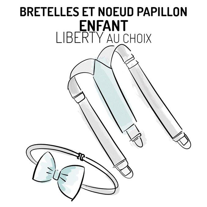 Bretelles et nœud papillon enfant Liberty personnalisable