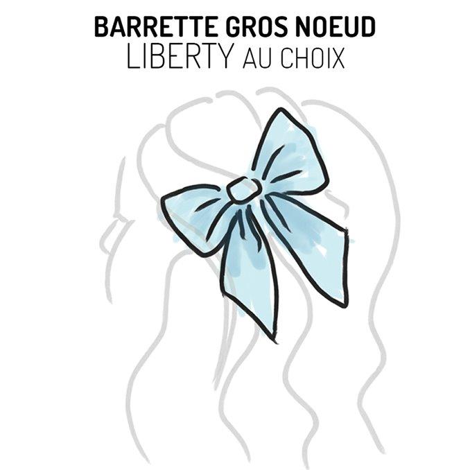Barrette gros noeud Liberty - Tissu au choix