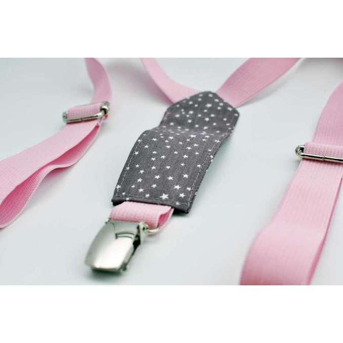 Bretelles enfant élastique rose pâle et figue étoilé