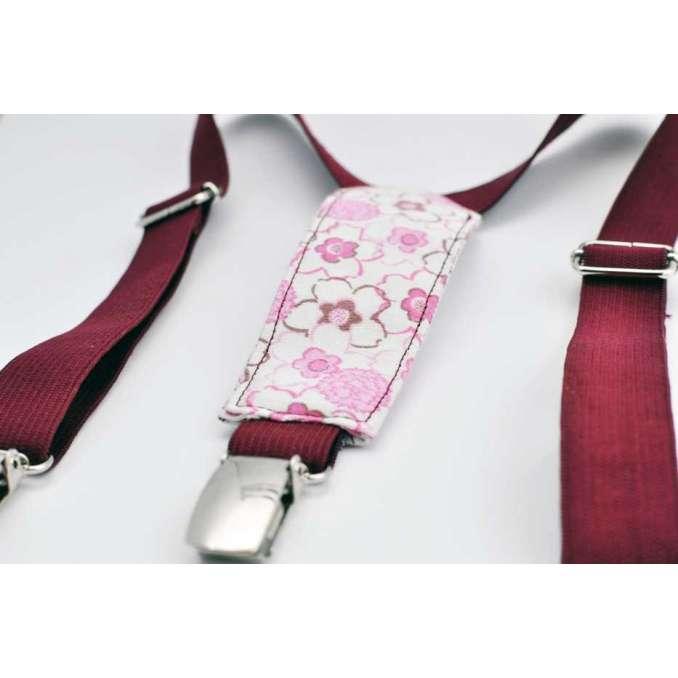 Bretelles enfant élastique prune et blanc à fleurs roses