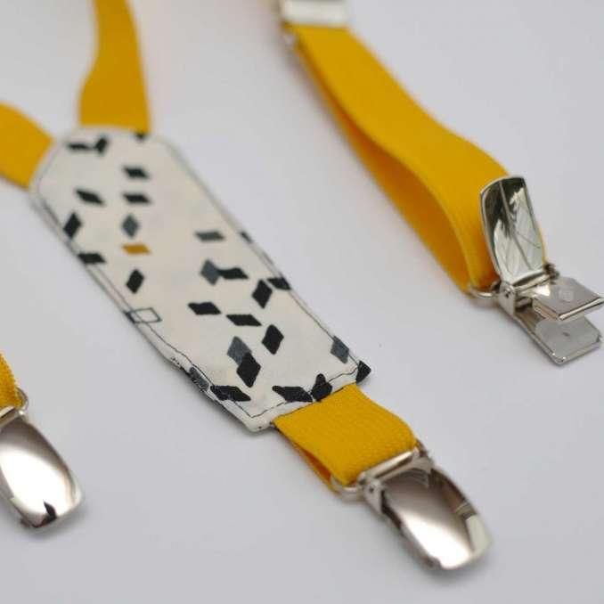 Bretelles enfant élastique jaune moutarde et Twist Mustard d'Atelier Brunette