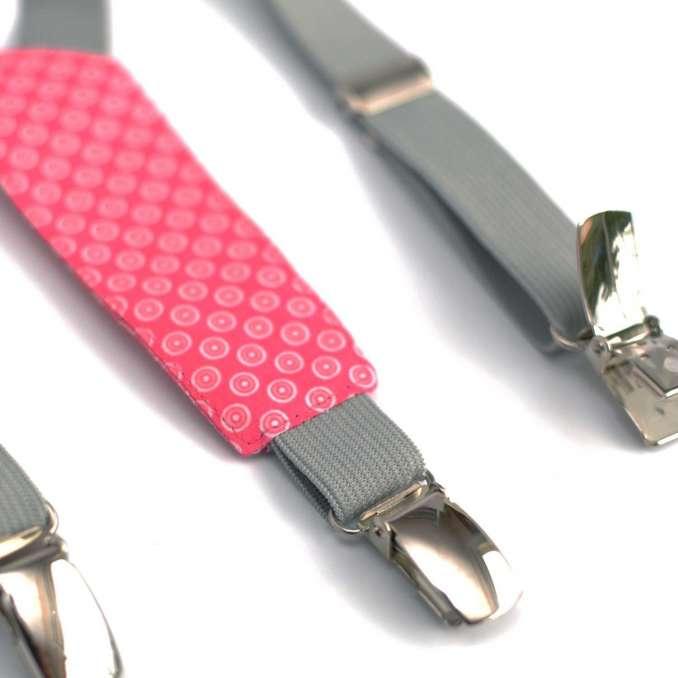 Bretelles enfant élastique gris et rose à pois blancs