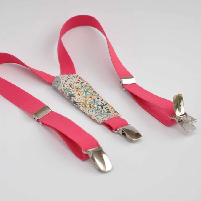 Bretelles enfant élastique rose fuchsia et Liberty Adelajda multicolore