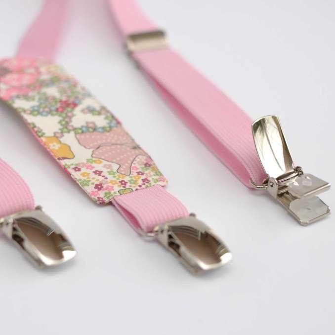 Bretelles enfant élastique rose pâle et Liberty Mauvey Pastel
