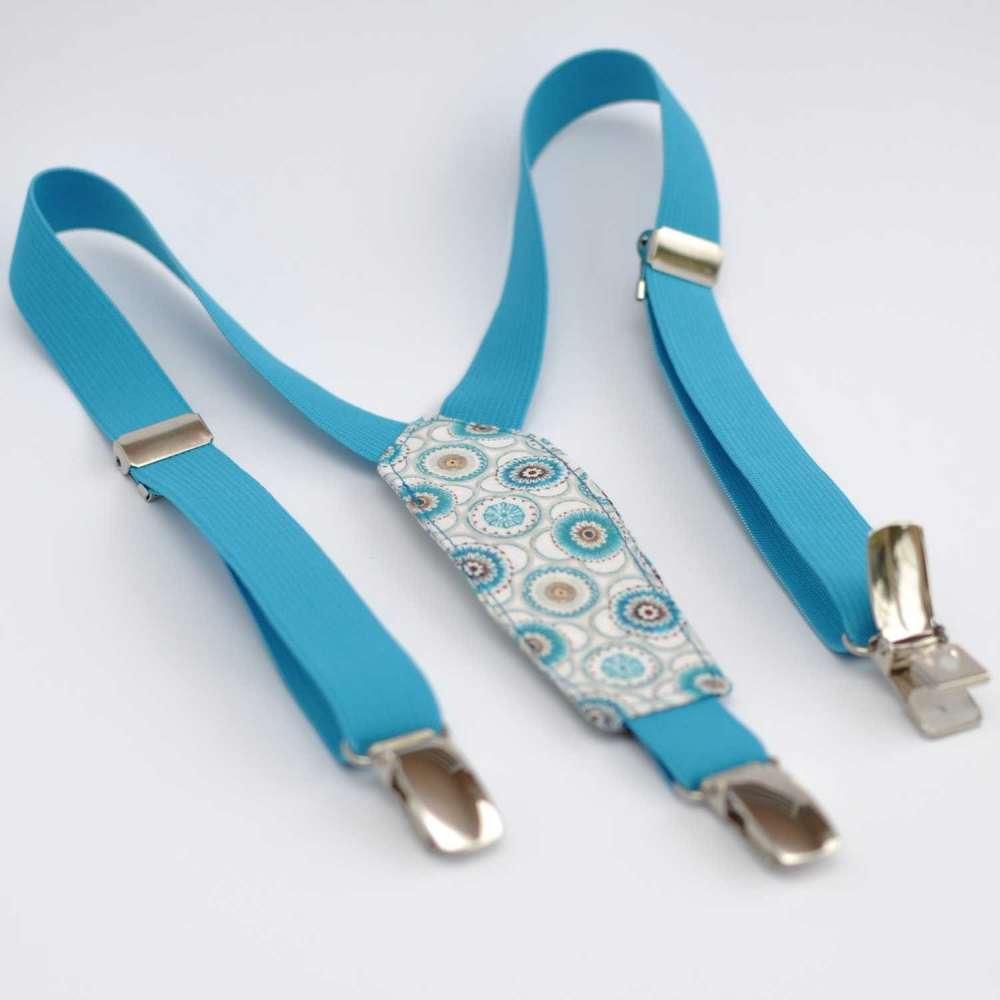 Bretelles enfant lastique bleu turquoise et tissu liberty maddock bleu - Tissus bleu turquoise ...