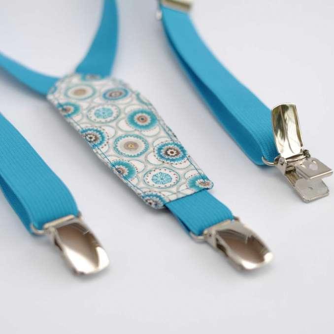 Bretelles enfant élastique bleu turquoise et tissu Liberty Maddock bleu