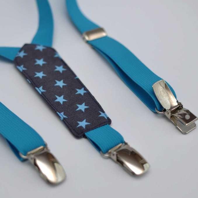 Bretelles enfant élastique bleu turquoise et tissu gris à étoiles