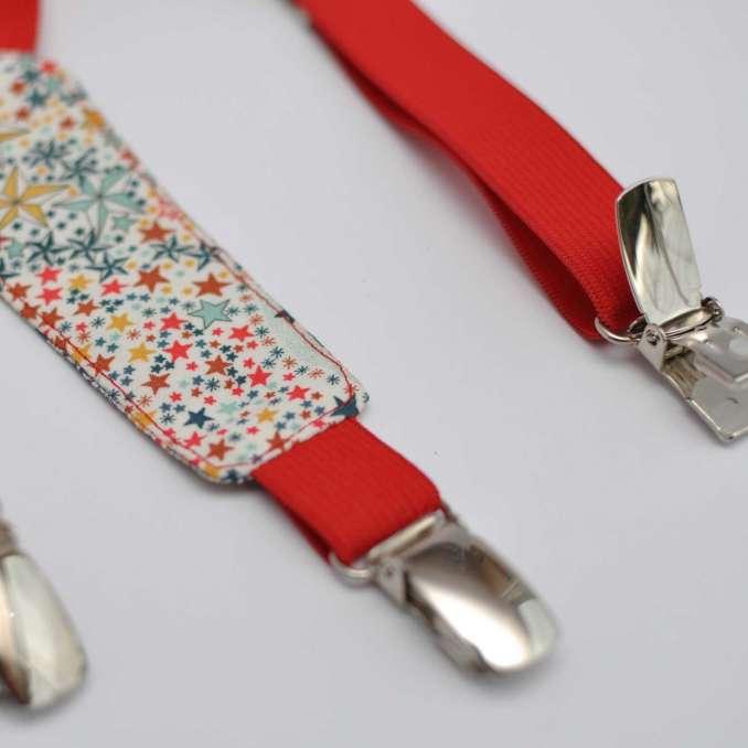 Bretelles enfant élastique rouge et Liberty Adelajda multicolore