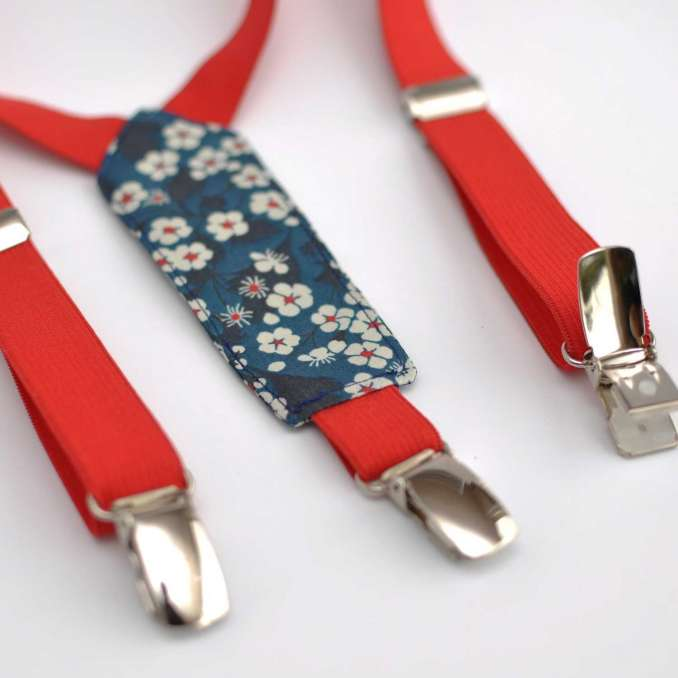 Bretelles enfant élastique rouge et Liberty Mitsi bleu