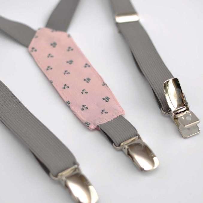 Bretelles enfant élastique gris et tissu rose pâle cerises grises France Duval