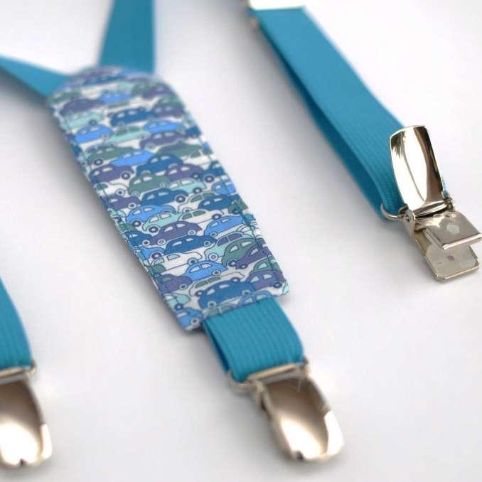 Bretelles enfant élastique bleu turquoise et tissu Liberty Cars bleu