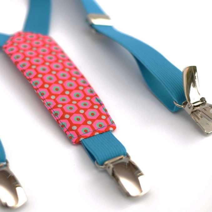 Bretelles enfant élastique bleu turquoise et tissu Mikko rouges Petit Pan