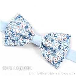 Noeud papillon Bicolore Liberty eloise bleu ciel FIL GOOD Made in France
