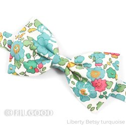 Nœud papillon simple LARGE tout liberty betsy turquoise fleurs vert  FIL GOOD Made in France