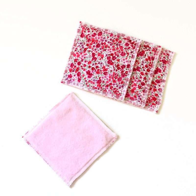 Lot de 5 Lingettes cotons lavables réutilisables pour bébé ou démaquillante Liberty Phoebe rose