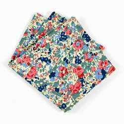 Pochette de costume Liberty claire aude ardoise fleurs rose bleu gris FIL GOOD Made in France
