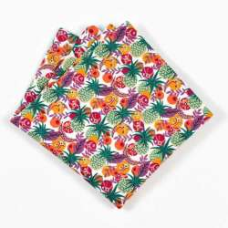 Pochette de costume liberty Ibiza Berry tropical ananas vert jaune violet FIL GOOD Made in France
