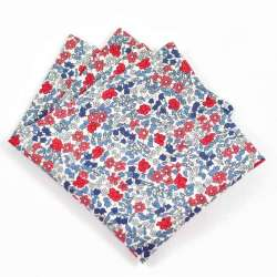 Pochette de costume Liberty Emilias flowers bleu rouge FIL GOOD Made in France