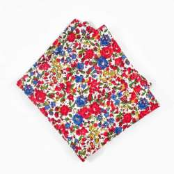 Pochette de costume Liberty emma and georgina rouge petites fleurs bleu jaune FIL GOOD Made in France