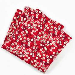 Pochette de costume Liberty mitsi valeria rubis rouge petites fleurs FIL GOOD Made in France