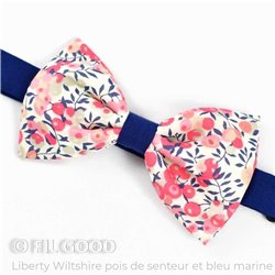 Noeud papillon Bicolore Liberty Wiltshire pois de senteur barbe à papa fleurs rose bleu marine FIL GOOD Made in France