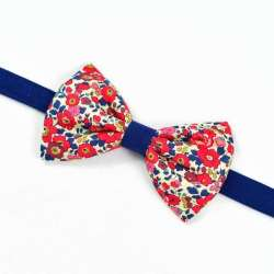Noeud papillon Bicolore Liberty Betsy ann rouge fleurs bleu marine FIL GOOD Made in France