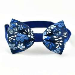 Noeud papillon Bicolore Liberty Edenham Encre fleurs bleu FIL GOOD Made in France