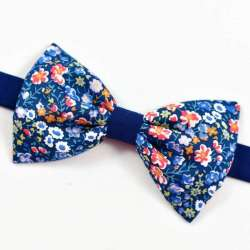 Noeud papillon Bicolore Liberty Phoebe and jo bleu A petites fleurs FIL GOOD Made in France