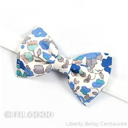 Noeud papillon large homme enfant bebe Liberty Betsy centaurée fleurs bleu gris FIL GOOD Made in France