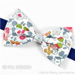Noeud papillon large homme enfant bebe Liberty Betsy porcelaine fleurs bleu rose jaune FIL GOOD Made in France