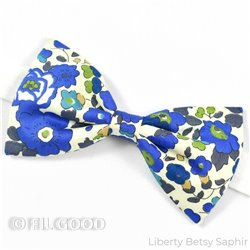 Noeud papillon large homme enfant bebe Liberty Betsy saphir fleurs bleu doré FIL GOOD Made in France