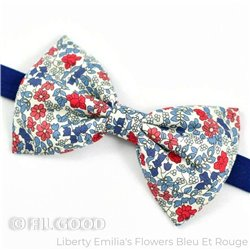Noeud papillon large homme enfant bebe Liberty Emilias flowers bleu et rouge petites fleurs FIL GOOD Made in France