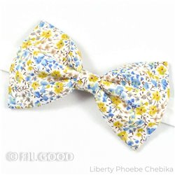 Noeud papillon large homme enfant bebe Liberty Phoebe Chebika fleurs bleu jaune FIL GOOD Made in France