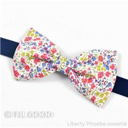 Noeud papillon large homme enfant bebe Liberty Phoebe sweetie fleurs bleu jaune rose FIL GOOD Made in France