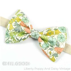 Noeud papillon large homme enfant bebe Liberty Poppy and Daisy vintage FIL GOOD Made in France