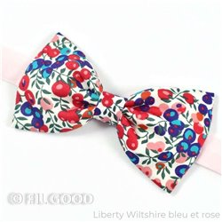 Noeud papillon large homme enfant bebe Liberty Wiltshire bleu et rose fleurs rouge FIL GOOD Made in France