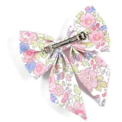 Barrette gros noeud Liberty Betsy dragée FIL GOOD Made in France