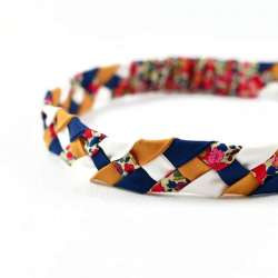Headband LIBERTY Betsy ann rouge moutarde FIL GOOD Made in France