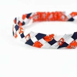 Headband LIBERTY Capel orange argent FIL GOOD Made in France