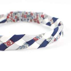 Headband LIBERTY Emilias flower bleu rouge FIL GOOD Made in France