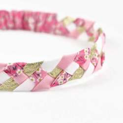 Headband LIBERTY Mitsi valeria orchidee rose FIL GOOD Made in France
