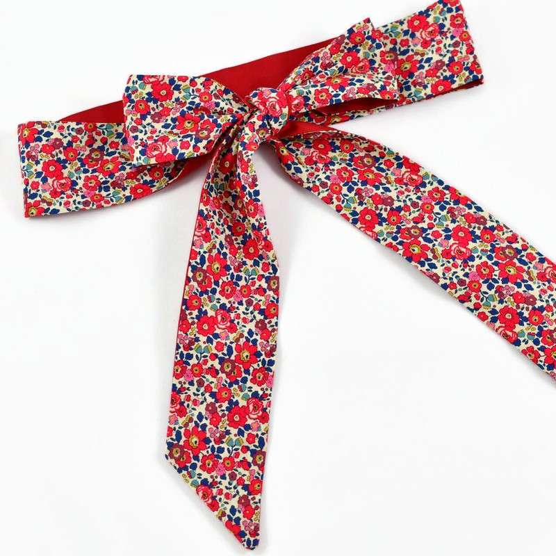 Ceinture LIBERTY Betsy ann rouge robe cérémonie FIL GOOD Made in France