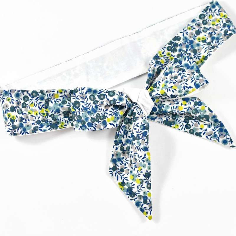 Ceinture LIBERTY Wiltshire mimosa bleu gris jaune robe cérémonie FIL GOOD Made in France