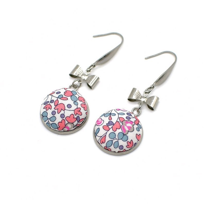 Boucles d'oreille pendants noeuds Liberty Eloise rose pastel FIL GOOD