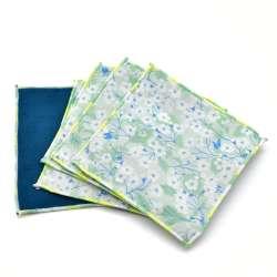 Lot de 5 Lingettes cotons lavables réutilisables pour bébé ou démaquillante Liberty Mitsi vert pâle