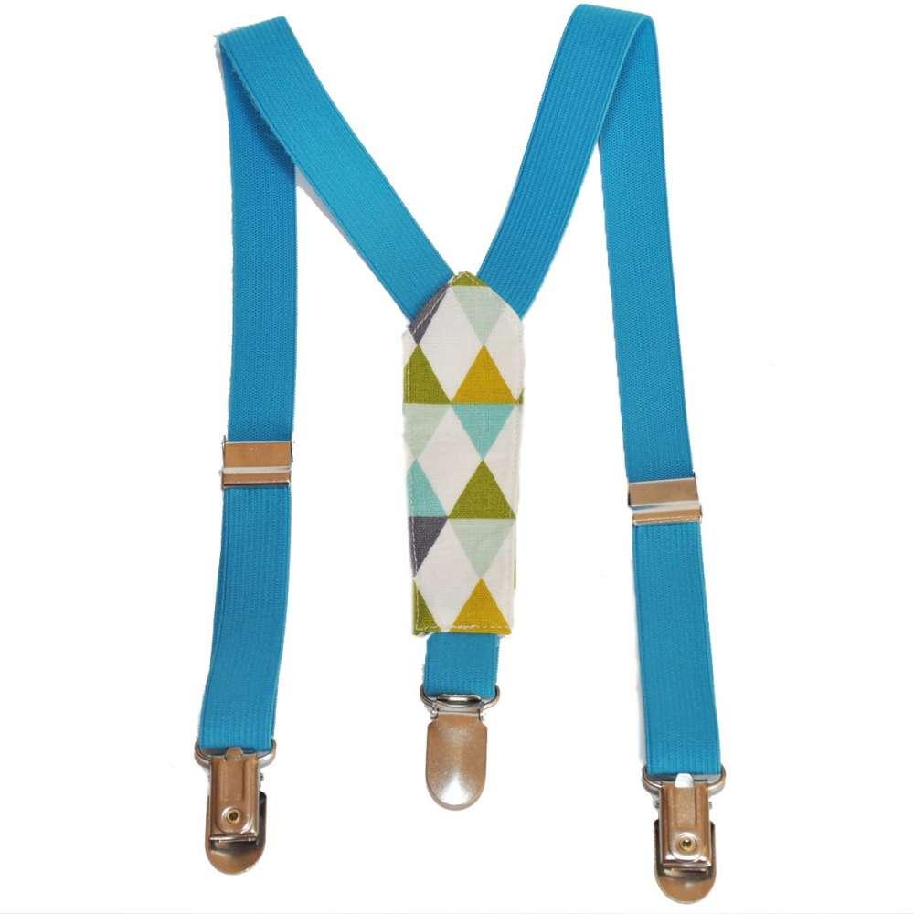original de premier ordre gamme complète d'articles offrir des rabais Bretelles enfant élastique turquoise et tissu à motifs géometriques  scandinaves
